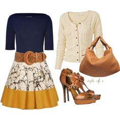 Yellow, Tan and Blue - Great combo, love the skirt