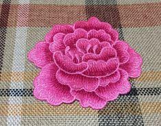 Parche de flores bordado apliques de flores de color de rosa