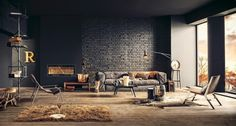 Incredible Rustic-Industrial Living Room For Apartment Design with Black Brick Wall Surface and Interesting Book Tiered Storage Rod Industrial Interior Design, Industrial Living, Industrial Interiors, Industrial Style, Vintage Industrial, Industrial Office, Industrial Restaurant, Industrial Apartment, Industrial Bathroom