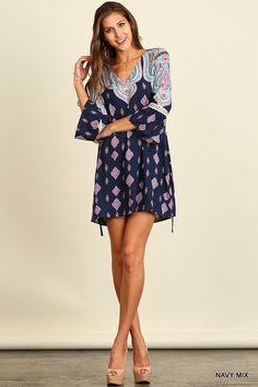 Umgee Botanical Navy Mix V Neck Peasant Dress S M L