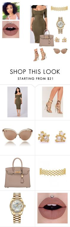 """Princess"" by jbell13 on Polyvore featuring Missguided, Linda Farrow, Ruth Tomlinson, Hermès and Rolex"
