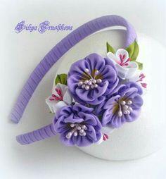 Diy Lace Ribbon Flowers, Cloth Flowers, Kanzashi Flowers, Ribbon Art, Satin Flowers, Diy Ribbon, Ribbon Crafts, Flower Crafts, Ribbon Bows