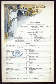 "American Gilded Age fashionable ladies and gentlemen leaving the theater. Pictured, on the cover of the Hotel Knickerbocker restaurant's supper menu, in the Grill Room - December ""Apres le Theatre"" - After the Theater. Chop Suey, Terrapin, Vintage Menu, Vintage Ads, Vintage Recipes, Living Room Theaters, Sweet Drawings, Safari, Vintage Cooking"