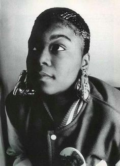 Roxanne Shante: varsity jacket and door knocker style