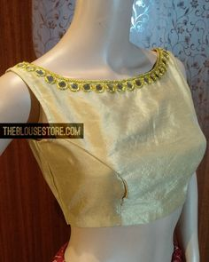 Mirror work blouse in boat neck style. Designer blouses online - avlbl in standard & custom sizes. Delivered across India & USA. Super fast 3 day delivery available in India. Gold Blouse, Saree Blouse, Designer Blouse Patterns, Blouse Designs, Designer Blouses Online, Mirror Work Blouse, India Usa, Boat Neck, Dress Up