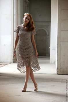 Free and Stylish Crochet Dress Patterns for This Year 2020 Part 44 ; crochet dress for women; Boho Summer Dresses, Hippie Dresses, Dress Summer, Crochet Lace Dress, Knit Dress, Boho Midi Dress, Moda Boho, Bohemian Mode, Beige Dresses