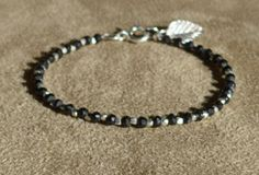 Black Spinel Bracelet, Sterling Silver, Dainty Bracelet, Silver Anklet, Black Bracelet, Black and white by ThreeMagicGenies on Etsy