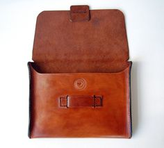 Handstitched Cognac Leather iPad Case / Sleeve - very interesting closure