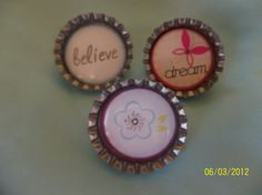 5 BOTTLE CAPS BROOCHES BY ANG744 ON ETSY, $7.50