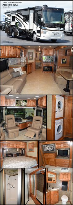 RELAX – ENTERTAIN – ENJOY in this 2015 ALLEGRO-RED 38QRA Class A Diesel by Tiffin Motorhomes, The main living area features a cozy fireplace with an HDTV above it as well as an HDTV above the driver's cab.