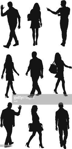 Arte vectorial : Silueta de personas que en diferentes poses
