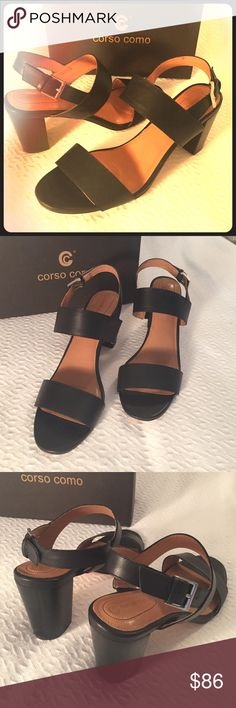 """Corso Comi Stacked Heel Sandals - Black Strappy brushed leather sling back sandals with a 3"""" stacked heel. Leather lining. Synthetic sole. Comfortable gel and Goan footbed. Silver buckle closure. Worn once. Sold in box. Size 11. Corso Como Shoes Heels"""
