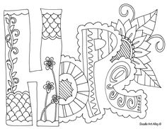 Hope, coloring page to encourage discussion in a creative setting