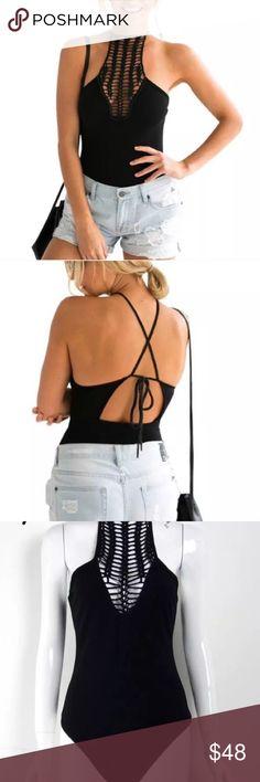 Black bodysuit Crochet halter neck black body suit Tops Tank Tops