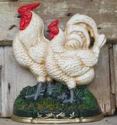 CAST IRON ROOSTER CHICKEN DOORSTOP Primitive Hen Antique Country Farmhouse