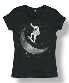 Look what I found on #zulily! Black Skateboarding Astronaut Cap-Sleeve Tee #zulilyfinds