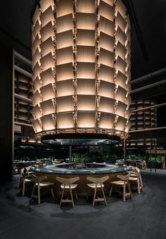 Gallery of Restaurant Tori Tori Santa Fe / Esrawe Studio - 3 Japanese Restaurant Interior, Restaurant Interior Design, Modern Interior Design, Interior Architecture, Home Design, Restaurant Interiors, Restaurant Lighting, Restaurant Lounge, Commercial Design
