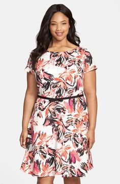 453ba13864b971 Gabby Skye Floral Print Scuba Fit  amp  Flare Dress (Plus Size) available at
