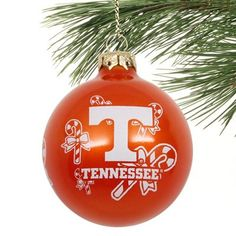 Tennessee Volunteers Candy Cane Traditional Glass Ball Ornament - Tennessee Orange