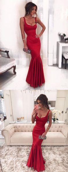 Maroon Satin V-neck Corset Mermaid Evening Dresses 2018 Prom Dress With Slit