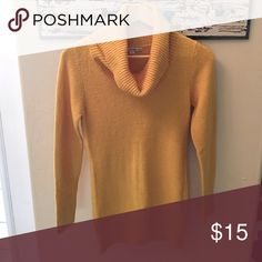 NWT cashmere like mustard cowl neck sweater Brand new with tags. Forever 21, super soft-cashmere like soft! Sweaters Cowl & Turtlenecks