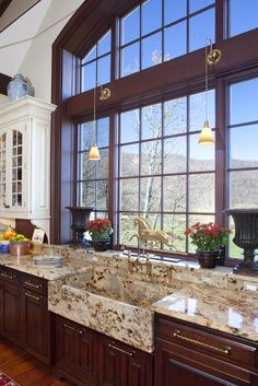 Kitchen decor, Kitchen designs, Kitchen decorating ideas - Granite tops AND sink ... Plus great windows!