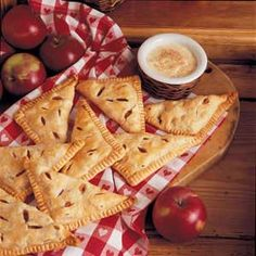 Apple Turnovers with Custard Recipe- Recipes  I'm almost finished writing my own cookbook. When I was working on the apple section, I knew I had to submit this recipe for the contest. With the flaky turnovers and rich sauce, it outshines every other apple recipe I make! -Leora Muellerleile, Turtle Lake, Wisconsin