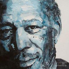 Morgan Freeman Watercolor Portrait Painting