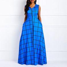 Summer Women High Waist Slim Dress Sleeveless Plaid Dress Casual Elegant A Line Long Dress Yellow Party Dresses, Blue Dresses, Maxi Dresses, A Line Long Dress, Chiffon Dress Long, Cheap Dresses, Elegant Dresses, Casual Dresses, Off Shoulder Fashion