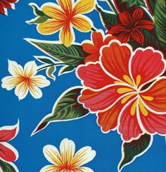 Blue Hibiscus Oilcloth Fabric Perfect Tablecloth or Beach Bag! www.oilclothalley.com