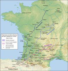 Chemins de Compostelle contemporains en France, tracés à partir des années 1970 sur la base des lieux mentionnés par le Guide du pèlerin et d'hypothèses locales.