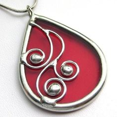 Spirals  teardrop stained glass pendant 1044 by LingGlass on Etsy,