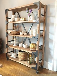6 Rustic Kitchen Shelving Ideas With Timeless Rugged Charm Kitchen Design Rustic shelving is a great way to add some western style and architectural appeal to your kitchen. It looks great in the corner of a worktop, hanging . Diy Furniture Plans, Diy Furniture Projects, Handmade Furniture, Home Furniture, Modern Rustic Decor, Rustic Shelves, Kitchen Shelves, Rustic Kitchen, Easy Diy