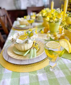 Dining Delight: Mother's Day Lemon Themed Tablescape Yellow Dinner Plates, Yellow Bowls, Battery Operated String Lights, Grace Home, Dinner Themes, Table Settings, Place Settings, Taper Candles, Spring Green