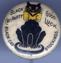 Black Cat Stockings Premium Pin-back Black Kitty, Black Cats, Vintage Cat, Vintage Pins, Old Cats, Cats And Kittens, Crazy Cat Lady, Crazy Cats, Halloween Stuff