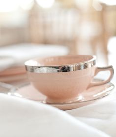 Classy pink cup and saucer just for her....