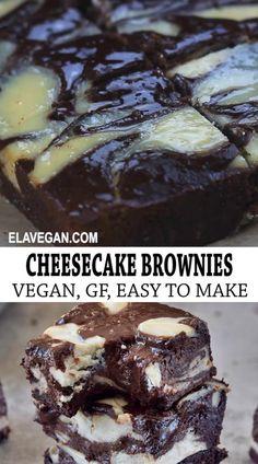 Cheesecake Brownies, Cheesecake Sem Lactose, Dairy Free Cheesecake, Dairy Free Brownies, Egg Free Recipes, Fun Easy Recipes, Vegan Foods, Vegan Dishes, Lemon Bar