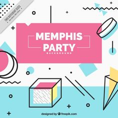 Party background in memphis style Free Vector