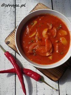 Hiszpańska zupa pomidorowa Healthy Snacks, Healthy Eating, Healthy Recipes, Healthy Soups, Vegan Vegetarian, Food Inspiration, Soup Recipes, Curry, Diet