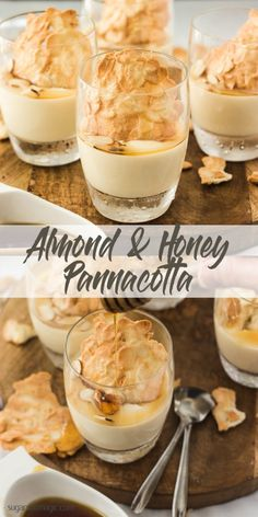 This Almond and Honey Pannacotta is filled with honey and almond flavour in a luscious, creamy yet light dessert. And pannacotta is so easy to make so this is perfect for a dinner party. #pannacotta #honeypannacotta #easydessert