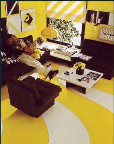 Yellow. 1970s decor wow!