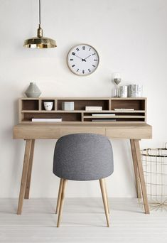 Ash desk with cubby holes & drawers | @styleminimalism