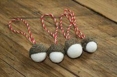 needle felted acorn christmas decorations,acorn craft