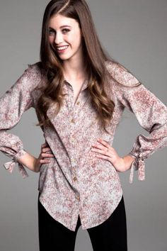 paper crown clarence blouse in tree print.