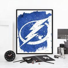 Tampa Bay Lightning hockey inspired watercolor ink by InkBlotzArt