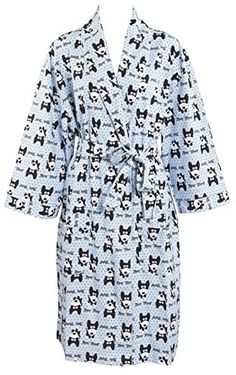 Leisureland Womens Cotton Flannel Novelty Long Robe One Size Dog Blue -- Want additional info? Click on the image.