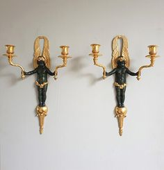 Pair of Restauration period gilt-bronze and patinated bronze sconces Restaurant, Candle Sconces, Antique Furniture, Period, Wall Lights, Bronze, Lighting, Antiques, Home Decor