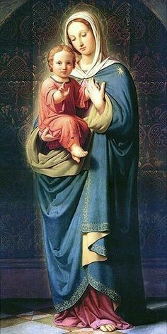 Blessed Virgin Mary and baby Jesus Blessed Mother Mary, Blessed Virgin Mary, Divine Mother, Religious Pictures, Religious Icons, Religious Art, Religious Paintings, Queen Of Heaven, Mary And Jesus
