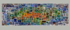 Briefmarken Postage Stamp Collage auf Keilrahmen 60 x 20 cm