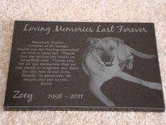 5x7 Black Granite Pet Memorial Stone Plaque Laser by BenteDesigns, $49.99